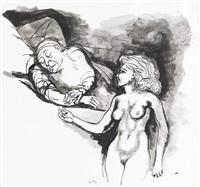 donna con uomo che dorme by renato guttuso
