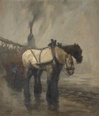 chevaux de hallage sur fond de paysage industriel by kurt peiser