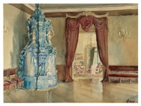 parlor with a delft oven by walter gay