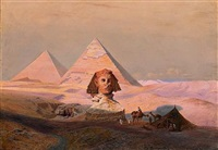 the great sphinx of giza at sunset by hermann vogel