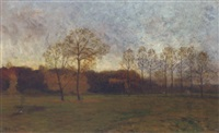 dusk in the meadow by charles hippolyte andre