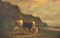 vaches au pâturage et fermière et son troupeau (2 works) by andré cortes