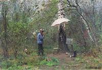 le jeune peintre en forêt by emile renard