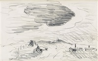 landscape with houses and a large dark cloud by charles ephraim burchfield