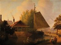 conversation à la sortie du village by joseph bles