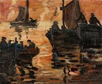 fishermen at dusk by benito quinquela martín