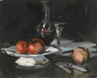 still life with wine decanter, glass and apples by samuel john peploe