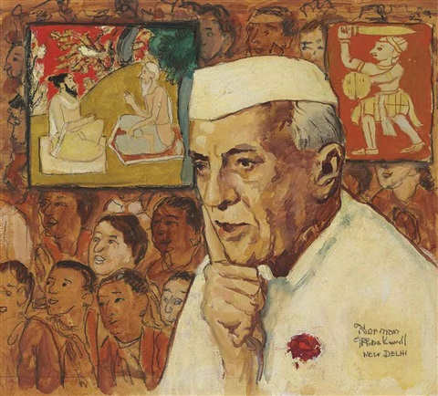 study for portrait of nehru by norman rockwell
