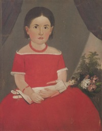 portrait of a girl in a red dress by william w. kennedy