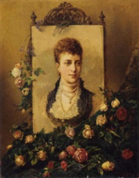 a portrait of princess alexandra adorned with roses and sprays of heather by henry campotosto