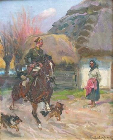 soldat et paysanne by woiciech aldabert ritter von kossak