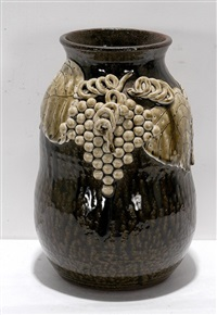 white grape decorated cookie jar by lanier meaders