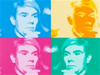 four colored warhols by nat finkelstein
