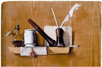 a trompe l'oil still life with a flacon, a seal holder, a white glazed delft pot, a letter ad quills in an ink pot, all arranged upon a wooden shelf by heyman dullaert