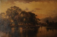 river scene with boats and cattle by john horace hooper