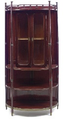 a stained beech, glass and metal vitrine, circa 1905 by josef hoffmann