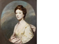 portrait of miss taylor, daughter of archdeacon john taylor, half-length, in a white dress with a pink shawl, in a painted oval by joshua reynolds