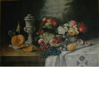 still life with fruit, roses and champagne by franz rund