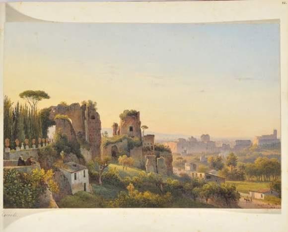 vue de la villa mills à rome by salomon corrodi