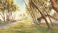coast scene ceylon (sri lanka) by henry george gandy
