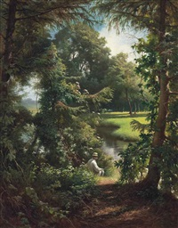 fishing on a sunny afternoon by henri biva