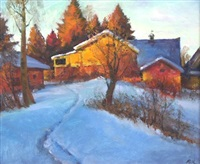 winter evening landscape by mark kremer