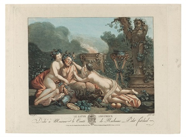 la bacchante enyvrée le satyr amoureux 2 works by jean françois janinet