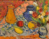 vases, fruits et bouquet de fleurs by pierre ambrogiani