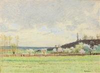 paysage au verger by léon-henri lievrat