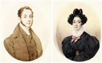 portraits (la marquise et du marquis de beaumont?)(2 works) by alexandre-jean-baptiste hesse