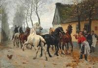 et kobbel heste udenfor lindenborg kro by otto bache