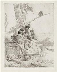 la famiglia del contadino orientale, pl. 15 (from scherzi) by giovanni battista tiepolo