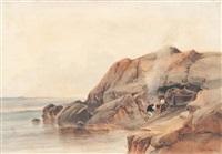 pêcheurs en bord de côte by vincent joseph françois courdouan