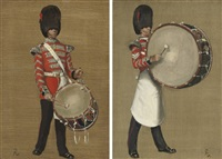 coldstream guards drummer (+ another similar; pair) by john leigh-pemberton