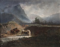 paisaje con vacas by alexandre calame