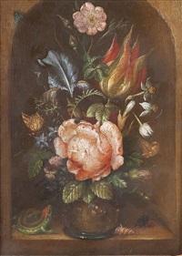 blumenstück mit eidechse, muschel, käfer und fliege by ambrosius bosschaert the elder