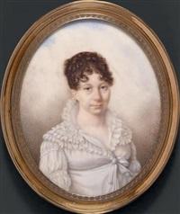 portrait de la comtesse de lendemelle en buste vers la droite, presque de face, en robe de voile blanc bordée de dentelle by marie victoire jaquotot
