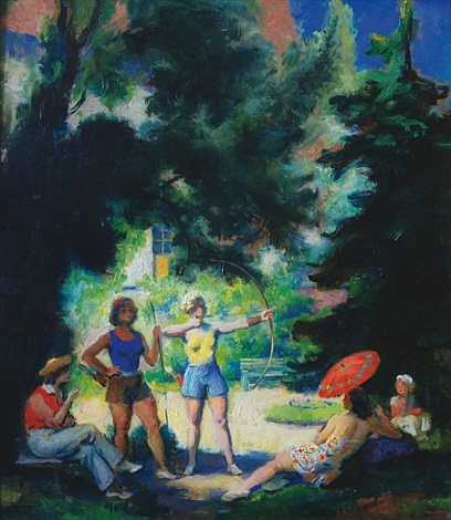 archery in a summer afternoon double sided by frantisek naske