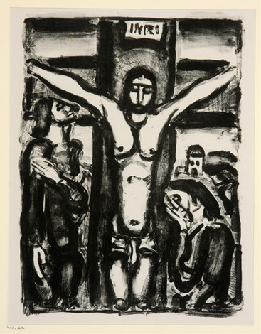 le christ en croix jesus honni and toujours flagelle 3 works by georges rouault