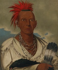black hawk, prominent sauk chief, sauk and fox by george catlin