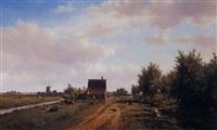 paysage à la chaumière et au moulin by willem vester