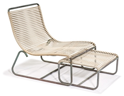 Sleigh Chair And Ottoman (2) By Walter Lamb