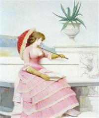 femme à l'ombrelle by adolphe frédéric lejeune
