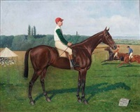 portrait du cheval artois et son jockey by paul lemore