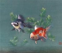 goldfishes (embroidered by sang xingyun) by sang xingyun
