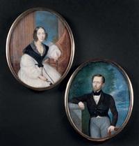 deux portraits en pendants figurant un couple de personnages, l'homme en redingote brune et son épouse assise (pair) by françois-sébastien laurent