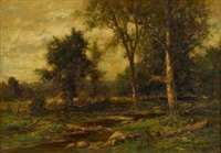 river in a wooded landscape by charles linford