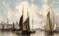 shipping near a town by johannes gysbert vogel the younger