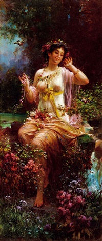 spring young lady by hans zatzka