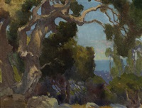 old eucalyptus and mountain lake (recto-verso) by marion kavanaugh wachtel
